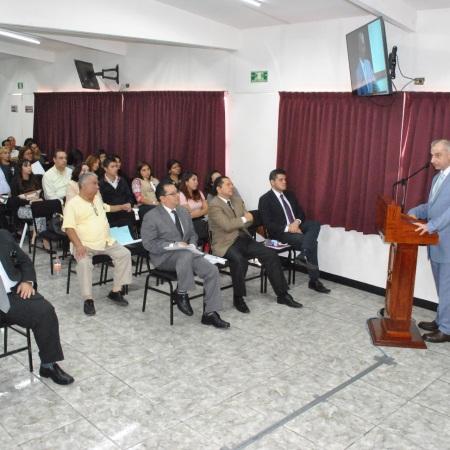 El secretario ejecutivo del Sistema y del Consejo Estatal de Seguridad Pública, Juan Antonio Nemi Dib, en la apertura del Foro de Participación Ciudadana hacia una Cultura de la Legalidad, organizado por la Secretaría Ejecutiva del Sistema y del Consejo Estatal de Seguridad Pública de Veracruz y la Universidad de Xalapa.