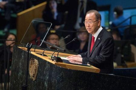 Ban Ki-moon se dirige a la Asamblea General de la ONU.