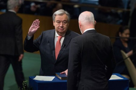 António Guterres rinde protesta como Secretario General de la ONU para el periodo 2017-2021.